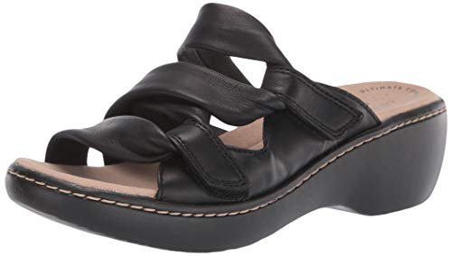 Clarks Women's Delana Jazz Sandal, Black Leather, 9.5 W US