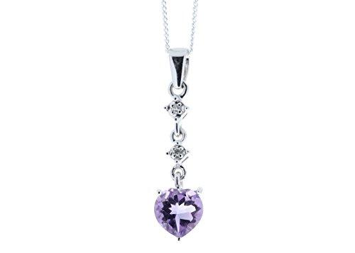 Precious joyas UK - DIAMOND y con forma de corazón Amethyst 9ct Blanco lámpara de techo de fotos de barco incluye four Square