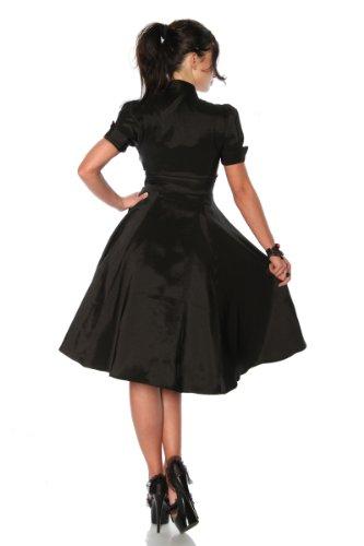 Sixties Rockabilly Satin Kleid im Retro Style in schwarz / burgund - 2