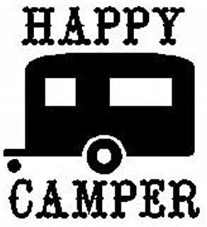 Happy Camper Decal Vinyl Sticker Cars Trucks Vans Walls Laptop  BLACK  5.25 x 5.5 in CCI932
