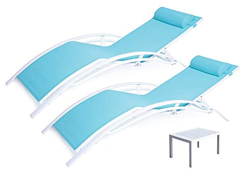 Kozyard KozyLounge Elegant Patio Reclining Adjustable Chaise Lounge Aluminum and Textilene Sunbathing Chair for All Weather with headrest (2 Pack), KD,Very Light, (Blue W/Table)