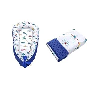 Baby Lounger & Soft Nest Reversible Co-Sleep Portable Newborn, Breathable Cotton Travel Crib, Blue Baby Boy Bed, Snuggle Large Matching Blanket (Airplanes)