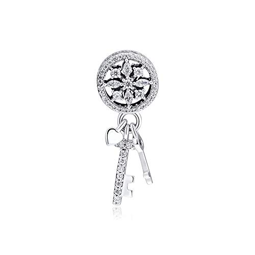 YOYNZY Fit Original Pandora Armbänder 925 Sterling Silber DIY Charms Funkelnde Schneeflocke Baumeln Schlüssel Metall Perlen Für Die Schmuckherstellung