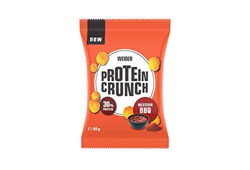 WEIDERProtein Crunch, herzhafte Eiweiß-Snacks zum Knabbern, 6 x 50 g,BBQ