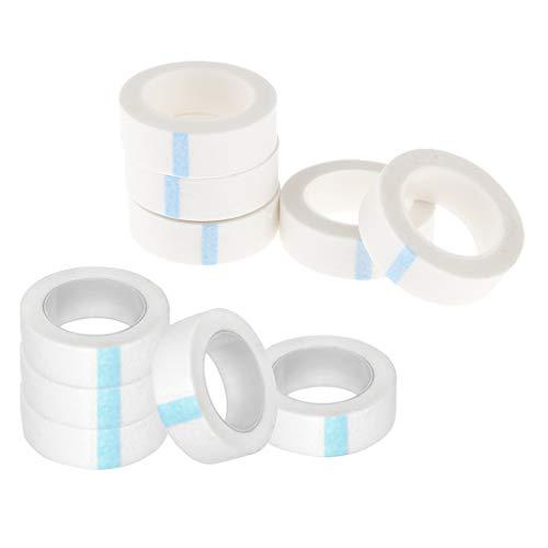 perfeclan 10 Rouleaux de Ruban de Cils Non Tissés Individuelle Bande de Cils Adhésive Micropore pour Rallonges de Cils
