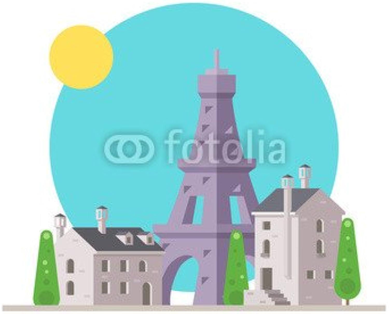 Plano de Diseño de la torre Eiffel de France with Village (81794614), lona, 100 x 100 cm