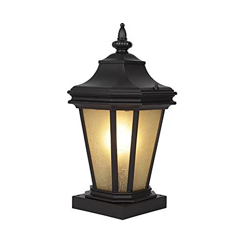 QIYHB E27 Lámpara de Patio Vintage Aluminio Metal Retro Acero Inoxidable Columna Faros Creativos Retro Luces cálidas Farol para Exteriores Paneles de Vidrio (Negro)