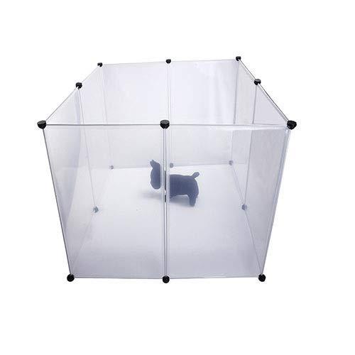 WSJF Box per Animali Domestici, Recinzione di plastica Grande Portatile, Animali di Piccola Taglia Tenda per recinto di Cassette per Cuccioli, Bianco Trasparente, 8 Pannelli