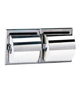 Bobrick Toilettenpapierhalter mit Haube für zwei Rollen in Edelstahl poliert oder Edelstahl matt geschliffen, Wandeinbau, Farbe:Edelstahl poliert