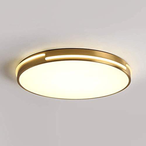 Landhaus LED Deckenleuchte Wohnzimmer Rustikal Deckenlampe Golden Runde Beleuchtung Messing und Acryl Dreifarbiges Dimmen Innenbeleuchtung Dekoration Schlafzimmer Küche Esszimmer Flurleuchten,Ø41*5cm