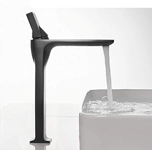 YZDD® Grifo de lavabo negro frío y cálido grifo de baño monomando grifos monomando de agua elegantes grifo de lavabo montado en la cubierta 20075-1