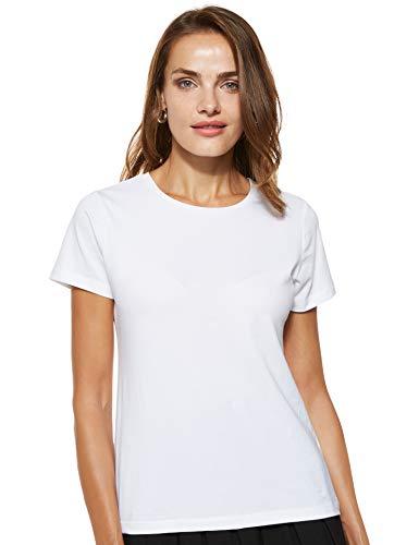 Amazon Brand - Symbol Women's Solid Regular Fit Half Sleeve T-Shirt (RN-PO2-COMBO2-Black & White-L) (Combo Pack of 2)