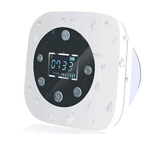 VICTORSTAR Altavoz Resistente al Agua con Pantalla LCD Altavoz para Ducha Bluetooth S603/ Radio FM/Micrófono Manos Libres Incorporado/Potente Ventosa de Succión/ 10 hrs de Tiempo de Juego (Blanco)