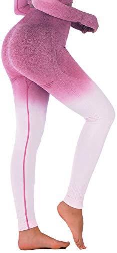 Running Girl Ombre nahtlose Gym Leggings Power Stretch hohe Taille Yoga Hose Laufen Workout Leggings -  Violett -  Mittel