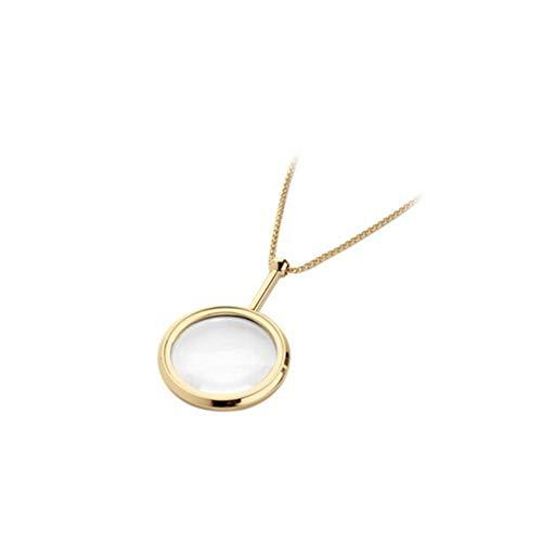 DQH Fqdqh Lupa, 3,5 Veces, Cadena Elegante (Dorado) Collar Estilo (Color : Gold)