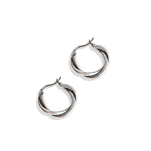 Irish Celtic Knot s925 Sterling Silver Vintage Infinity Small Hoop Earrings for Women Girls Fashion Twist Love Click Top Huggie Round Hoops Hypoallergenic Jewelry Gifts for Birthday Girlfriend Wife