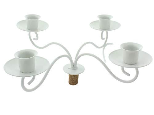 4-Armiger Kerzenständer Kerzenhalter zum Aufstecken auf Weinflaschen (cremeweiß)