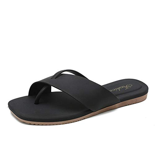 dihui Sandalia Casual con Tiras,Desgaste de Verano Fashion Cool Zapatillas, Pie de Fondo Plano Fondo Suave Palabras humanas-Negro_39,Sandalias ortopédicas