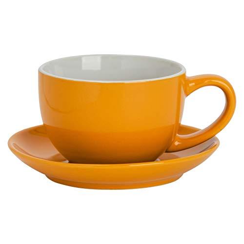 Argon Tableware Farbige Cappuccino Tasse und Untertasse - Modern Style Porzellan-Tee-und Kaffeetasse - Gelb - 250ml