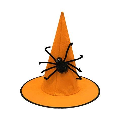 Nyuiuo Frauen Halloween Hut Ghost Festival Nonwoven Spider Wizard Hat Casual Outdoor Buschhut Retro Sommerhut Vintage Party Wanderhut Beiläufig Baseball Caps Fliegermützen Melonen