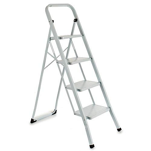 TU TENDENCIA ÚNICA Escalera metálica blanca plegable con p