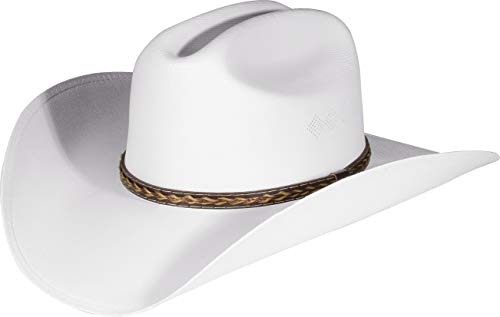 Enimay Western Cowboy & Cowgirl Hat Pinch Front Wide Brim Style (Small   Medium, Classic White)