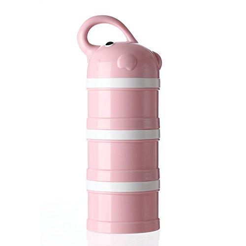 Distributeur de formule, distributeur portatif empilable 3 compartiments Distributeur de poudre de lait et Snack Container par Udaone-with Handle & 3 Funnel Lids/360ML 0M+ (Rose Éléphant)