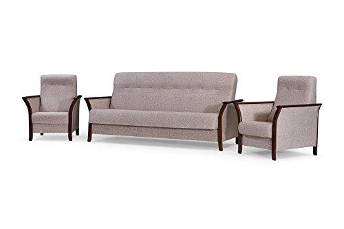 mb-moebel Polstergarnitur 3er Sofa und Zwei Sessel Couch mit Bettkasten und Schlaffunktion Wohnzimmer Set 311 Barbados Beige