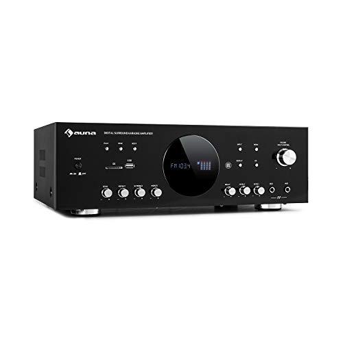 auna AMP-218 BT 5.1 Digital Surround Karaoke Amplifier Verstärker ,Ausgangsleistung: 2 x 120 Watt + 3 x 50 Watt RMS ,Bluetooth-Verstärker ,Antennenanschluss ,USB / SD,schwarz
