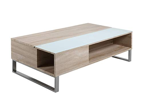 Movian Inn - Mesa de centro, 60 x 110 x 35 cm (largo x ancho x alto), efecto roble