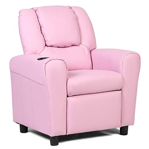 HONEY JOY Kids Recliner Chair with Cup Holder, Toddler Couch Sofa with Headrest & Raised Footrest, Padded PU Leather Armchair for Boys Girls 3+ Age Group (Pink)
