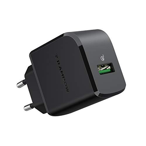RAMPOW Cargador USB 19.5W Cargador de Red con Quick Charge 3.0 Cargador USB Pared Cargador Móvil para Teléfonos y Tabletas, iPhone, iPad, Samsung, LG, HTC, Sony, Huawei, Xiaomi y más - Negro