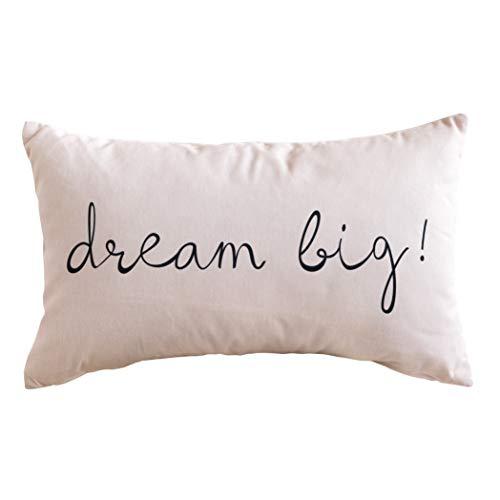Kenay Home Dream Big Cojín Decorativo, Algodón, Rosa, 50x30x20 cm