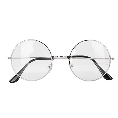 Gafas de lentes transparentes de metal redondas clásicas, Gafas de lentes transparentes de estilo vintage Unisex Hombres Mujeres Gafas de montura de metal Gafas(plata)