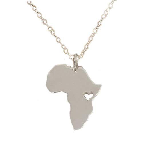 Mapa de África País De la adopción Sudáfrica Mapa del Collar de Etiopía Ciondolo África Collares del corazón del Amor joyería
