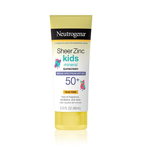 Neutrogena Sheer Zinc Oxide Kids Mineral Sunscreen Lotion, Broad Spectrum SPF 50+ with UVA/UVB Protection, Water Resistant for 80 Minutes, Paraben-, Dye-, Fragrance- & Tear Free, 3 oz Lotion