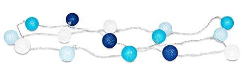 levandeo 15er Lichterkette LED Kugeln Lampions Baumwolle Blau Weiß Cotton Girlande Deko Cottonballs