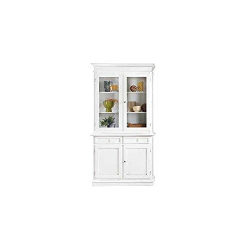 InHouse srls Mobile con cristalliera, Arte povera, in Legno massello e MDF con rifinitura in Bianco Opaco - Mis. 105 x 42 x 205