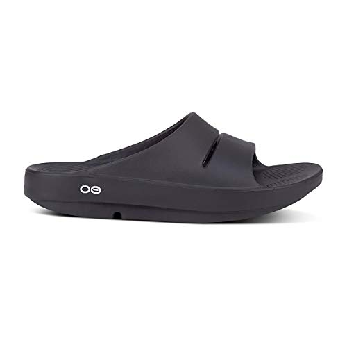 OOFOS OOahh Slide, Black - Lightweight Recovery Footwear - Reduces Stress on Feet, Joints & Back - Machine Washable - Men's Size 12, Women's Size 14