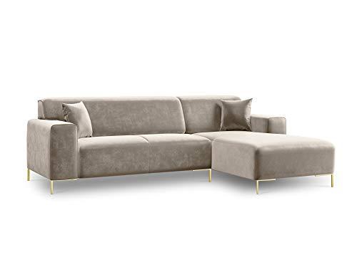 Canapé d'angle 4 places Beige Velours Design
