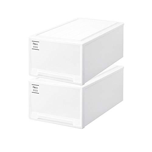 【まとめ買い2個セット】天馬 Fits フィッツケース ディープL (幅44x奥行74x高さ30cm) ホワイト | 衣装ケース 引き出し 収納ボックス 押入れ収納 日本製 プラスチック スタッキング 衣類ボックス MONO モノ 積み重ね