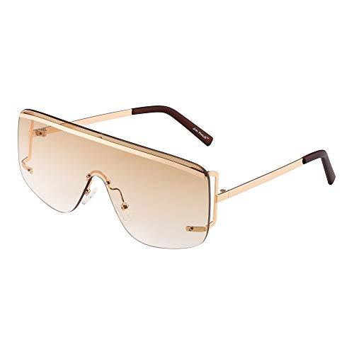 JIM HALO Oversized Schild Sonnenbrille Flach Top Gradient Linse Randlos Brille Damen Herren(Licht Gold/Farbverlauf Braun)