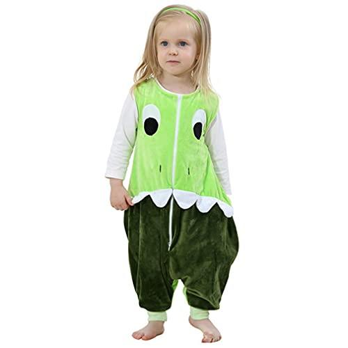 mama stadt Baby Tier Schlafsack mit Füßen, Ärmelloser Unisex Kinderschlafsack Schlafstrampler Flanell 4 Jahreszeiten Schlafanzug für 3-5 Jahre, Grüner Dinosaurier