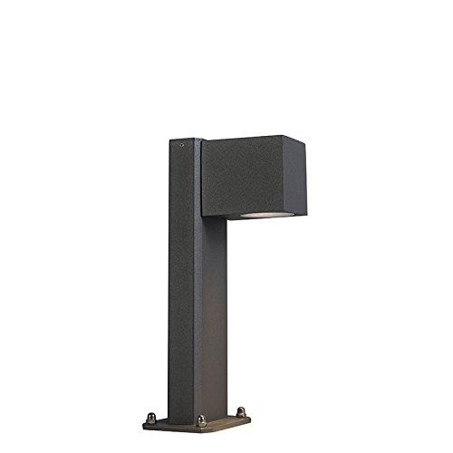 QAZQA Moderne Lampe d'extérieur sur pied industrielle anthracite 30 cm IP44 - Baleno Aluminium/verre Anthracite Oblongue GU10 Max. 1 x 11 Watt/Jardin/Luminaire/Lumiere/Éclairage