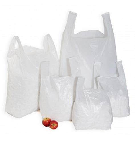 Sabco - Borse in plastica resistente, colore bianco, 28 x 43,2 x 53,3 cm, resistenti, 21mu, 100% riciclabili ed ecologiche, Plastica, bianco, 11x17x21