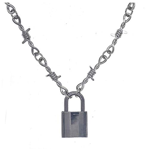 WEIYIing Punk Gothic Padlock Necklace Alloy Barbed Wire Brambles Necklaces Men Jewelry Choker Gifts
