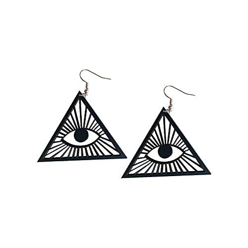 XAOQW Negro Acrílico Triángulo Geométrico Pendientes Huecos Moda Femenina Cool Punk Rock Joyería Accesorios