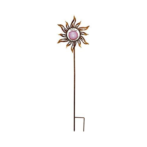 Solarleuchte Garten für Außen Blume Solarlampe Gartenlampen Solar Rost (Erdspieß, Rostoptik, Dekoleuchte, LED, Höhe 123 cm, mit Schalter)