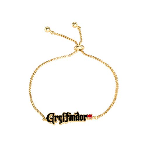 Harry Potter Officially Licensed Gryffindor House Gold Plated Lariat Bracelet, 9.5' inch Chain