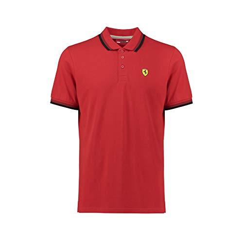 Ferrari 2018 Scuderia Herren Poloshirt mit Scuderia-Kragen, 100% Baumwolle, Größen XS-XXL, rot, (XS) 36 Inch Chest/EU 40-42